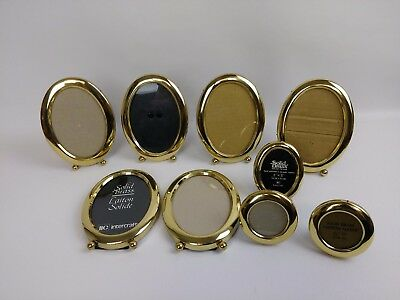 Vintage Lot 9 Oval Brass Gold Tone Metal Picture Frame Easel Mid Century Small