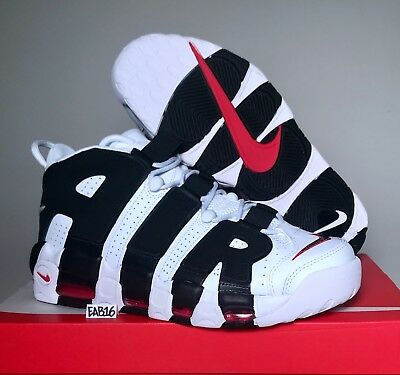 NIKE AIR MORE UPTEMPO Black And White University Red 414962 105 Scottie  Pippen