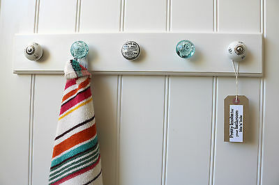 Bathroom hooks for towels, flannels, dressing gowns, blue/white ceramic knobs