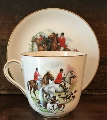 Vtg Royal Hammersley Bone China Oversized Teacup Saucer Equestrian Horse Fox Run