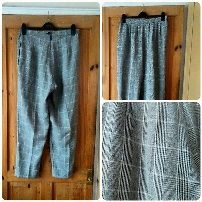 Vintage 90s high waist tapered trousers. Grey check print. 90s grunge. UK 14/16