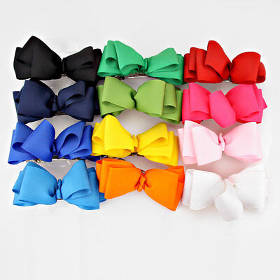 12 Piece Assorted Multi-Color Fabric Hair Bow Clip Barrette Wholesale Lot Trendy