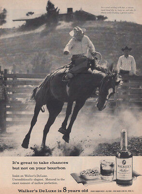 1961 Walkers DeLuxe: Take Chances But Not On Your Bourbon Vintage Print Ad