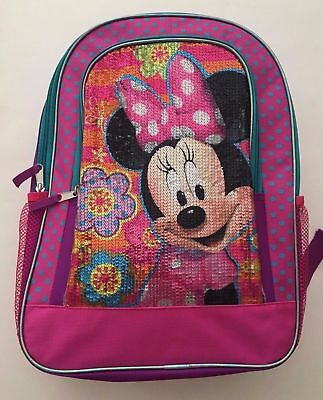 "Minnie Mouse Girls School Backpack 16"" Pink Sequins Disney NWT"
