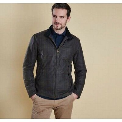 NWT Barbour Classic Waxed Cotton Tartan Plaid Helmsdale Wax Jacket Mens Small