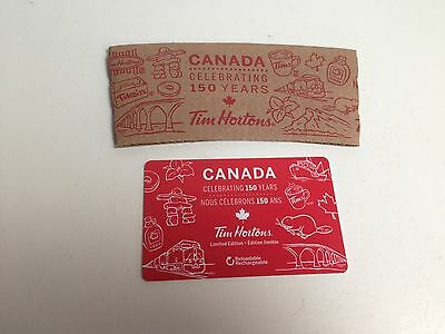 TIM HORTONS Paper Cup Sleeve + Zero $ No Value Gift Card 150 YEARS CANADA, 2017