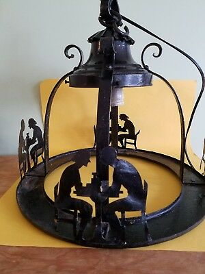 vintage wrought iron chandelier with cafe diner figures very unique rewired!