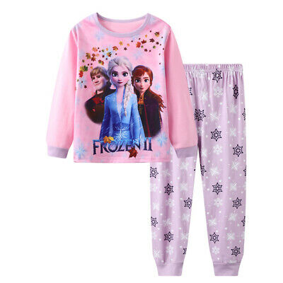 kids baby Girls Frozen Anna and Elsa long sleeve pyjama pjs size1-6 sleepware