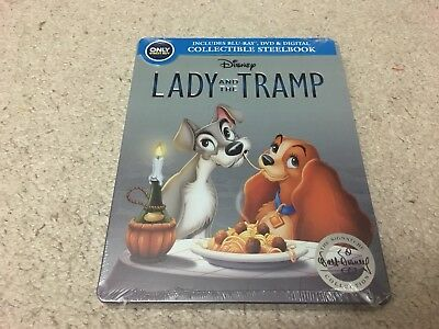 Disney Lady and the Tramp  (Blu-ray/DVD/Digital) Steel Book Best Buy Exclusive