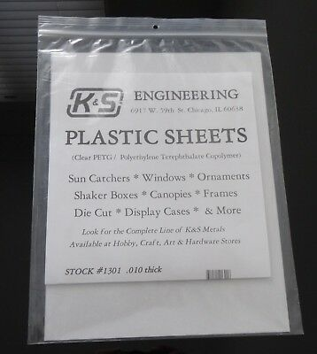 K&S Engineering #1301B, Clear Plastic Sheet X 3 size:-.010 X 22cm X 15cm,  New.
