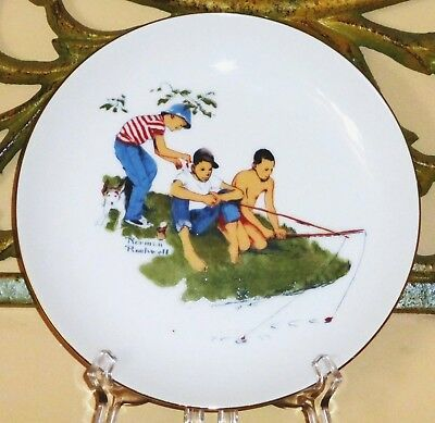 """Collectible NORMAN ROCKWELL 7.2"""" porcelain Plate_Boys at the Fishing_Vintage"""