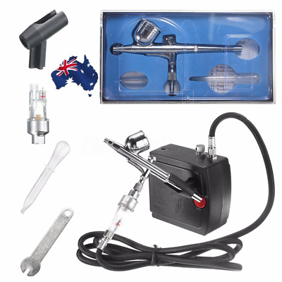 AU! Precision Dual-Action AIRBRUSH AIR COMPRESSOR SET KIT Craft Cake Hobby Paint