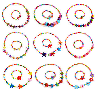 Children Kids Girls Princess Baby Beads Necklace & Bracelet Set Jewelry Gift