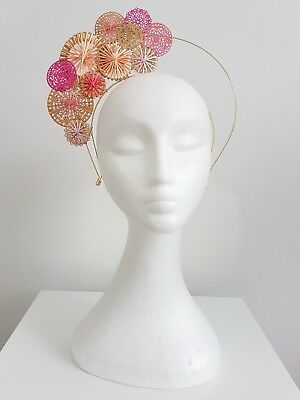 Miss Filigree womens metal disks halo headband fascinator in Pink and gold