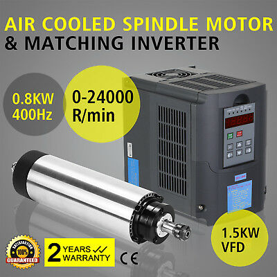 0.8Kw Air Cooled Spindle Motor 1.5Kw Vfd High Speed Engraving Inverter Great