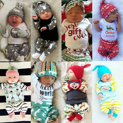 Newborn Kids Baby Boy Girl Tops Romper Pants 3pcs Outfits Set Cotton Clothes USA