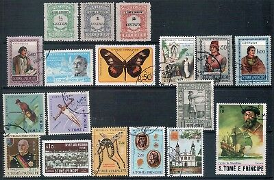 S.Tome E Principe - Mixed lot of 18 Stamps  Good Used to MH