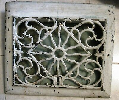 "Vtg VICTORIAN Cast Iron Floor Grille Heat Grate Register O.D. 13 3/8"" x 15 3/8"""
