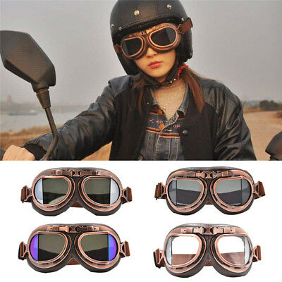 Vintage Motorcycle Motorbike Riding Goggles Aviator Pilot Eyewear Helmet Glasses