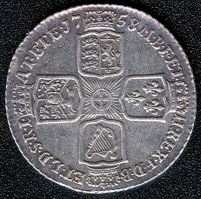 """1758 Great Britain 1 Shilling Silver Coin """"George II"""" ( 6.02 Grams .925)"""