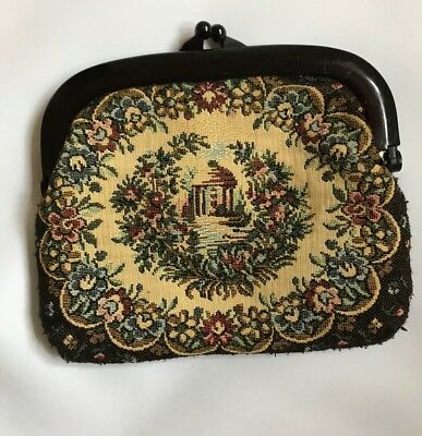 Petit Point Purse Vintage Embroidered Asian Garden Gazebo Water Made Hong Kong