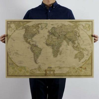 Cool Vintage Retro World Map Antique Paper Poster For Classroom Wall Chart Decor