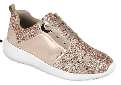 Girl's Fashion Glitter Sneaker Shoes Rose Gold - New in Box