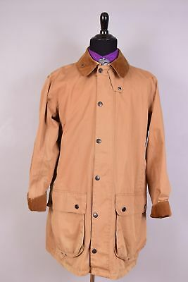 Barbour Border Waxed Cotton Jacket Coat Outerwear Size L w/ Lightweight Border