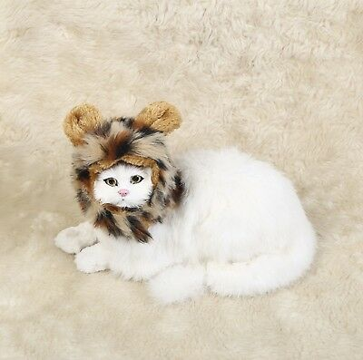 Pet Costume Hairpiece Leopard CAT Wig  w Ears Festival Party Fancy Hair Dress Up