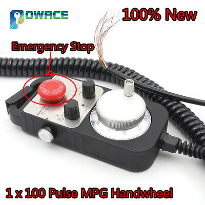100 Pulse Handwheel MPG Emergency Stop for CNC Router Engraving Milling Machine