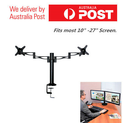 "10-27"" Dual LED Desk Mount Monitor Stand 2 Arm Display Bracket LCD Screen Holder"