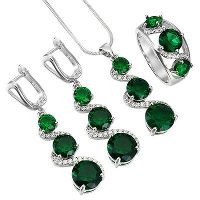 Women 925 Silver Filled Emerald Ring Necklace Earring Wedding HOT Jewelry Sets