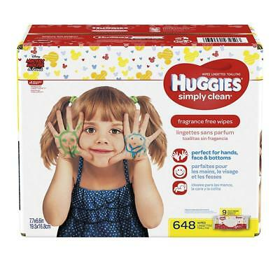 HUGGIES Simply Clean Fragrance Free Baby Wipes, Pack of 9 Soft Packs (72...