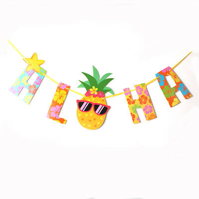 Summer Aloha Hawaiian Tropical Pineapple Garland Bunting Party Home Banners VP