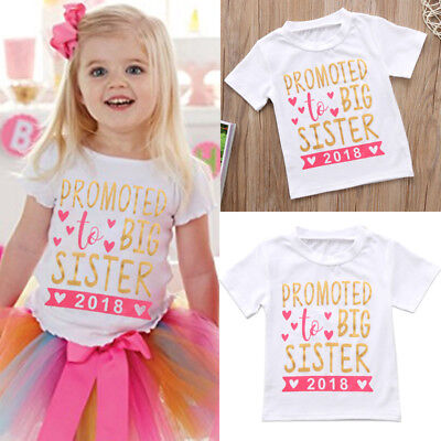 USA Kids Baby Girls Cotton Tops Toddler 2018 Big Sister Summer T-shirts Clothes