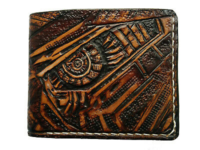 Men's 3D Genuine Leather Wallet, Hand-Carved, Transformers, Decepticon, Autobot