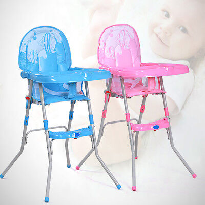 Non-Slip Baby Feeding High Chair Seat Foldable Children Infant Boy Blue