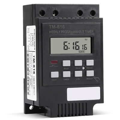 DIN Rail Digital LCD Power Programmable Timer Time Switch Relay AC 220 30A 2'