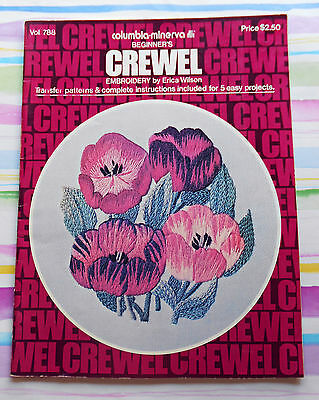 CREWEL  EMBROIDERY for Beginners - With Original Transfer Patterns -1975 SC Book