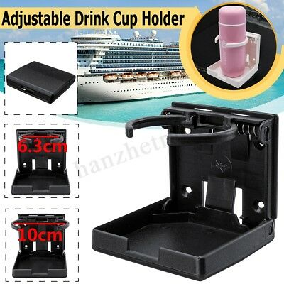 Black Adjustable Folding Drink Cup Mount Holder For Car Boat Marine Caravan Rv