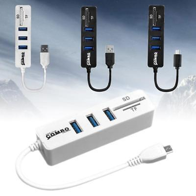 USB Hub Combo High Speed USB 2.0 Hub Splitter OTG 2 In 1 SD/TF Card Reader 0R