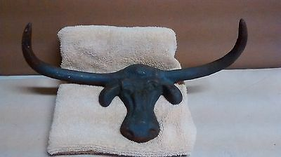 "Cast Iron Cow Head Coat or Hat Rack with Hornes 10"" Long from tip to tip."