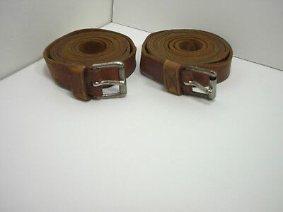 """2 Vintage Leather Suitcase Straps 5ft Long X 7/8"""" Wide, Old belts w/Buckles"""