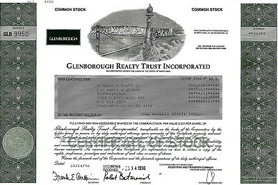 Glenborough Realty Trust Incorporated, 1996 (293 Shares)
