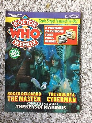 Doctor Who Weekly No7 Marvel Comic Nov 28th 1979 Dr Who