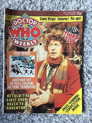 Doctor Who Weekly No3 Marvel Comic Oct 31th 1979 Dr Who