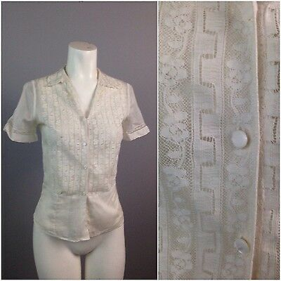 Vintage 30s 40s White Sheer Lace Floral Embroidery Button Up Blouse Art Deco XS