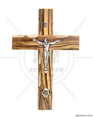 Wall Cross Crucifix Olive Wood Bethlehem Holy Land Jerusalem Soil