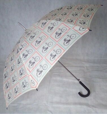 Ex-Sample Golf Umbrella with Bike Theme Print - Crook Handle & Automatic Open