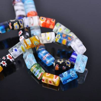 20pcs 8x12mm Tube Colorful Millefiori Glass Loose Spacer DIY Craft Beads Lots